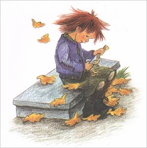1 Иллюстрация Илон Викланд к книге Астрид Линдгрен «Как Лисабет засунула в нос горошину»