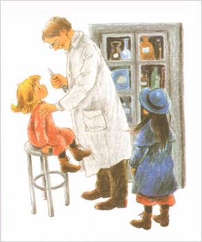 3 Иллюстрация Илон Викланд к книге Астрид Линдгрен «Как Лисабет засунула в нос горошину»