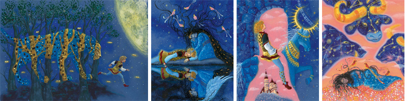 3 Иллюстрации Анны Юдиной к книге Джорджа Макдональда «Мальчик дня и девочка ночи»