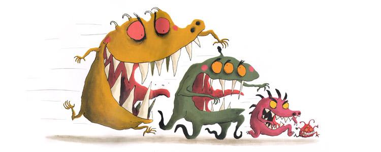 Иллюстрация Ролана Гарига к книге Катрин Леблан «Как справиться с монстрами»