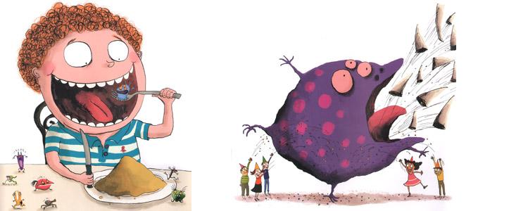 Иллюстрации Ролана Гарига к книге Катрин Леблан «Как справиться с монстрами»