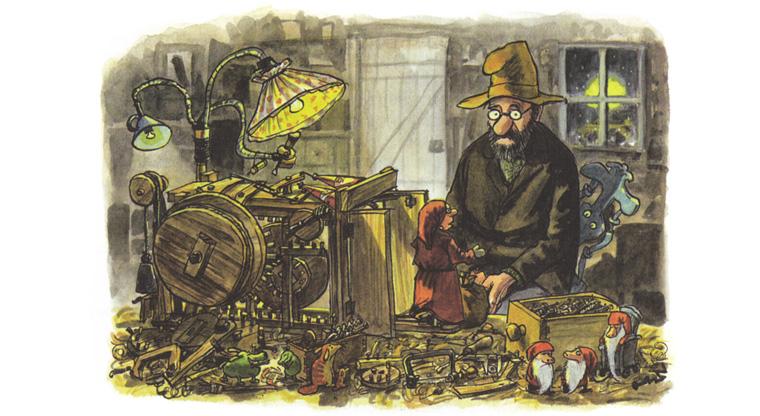 Иллюстрация Свена Нурдквиста к книге «Механический Дед Мороз»